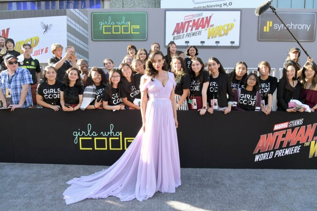 """HOLLYWOOD, CA - JUNE 25: Actor Hannah John-Kamen attends the Los Angeles Global Premiere for Marvel Studios' """"Ant-Man And The Wasp"""" at the El Capitan Theatre on June 25, 2018 in Hollywood, California. (Photo by Charley Gallay/Getty Images for Disney) *** Local Caption *** Hannah John-Kamen"""