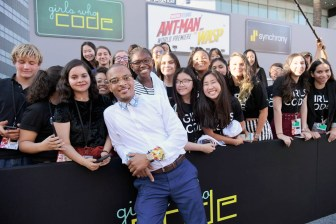 """HOLLYWOOD, CA - JUNE 25: Actor Tip """"T.I."""" Harris and Girls Who Code attend the Los Angeles Global Premiere for Marvel Studios' """"Ant-Man And The Wasp"""" at the El Capitan Theatre on June 25, 2018 in Hollywood, California. (Photo by Charley Gallay/Getty Images for Disney) *** Local Caption *** Tip """"T.I."""" Harris"""