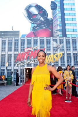 "HOLLYWOOD, CA - JUNE 25: Simone Missick attends the Los Angeles Global Premiere for Marvel Studios' ""Ant-Man And The Wasp"" at the El Capitan Theatre on June 25, 2018 in Hollywood, California. (Photo by Alberto E. Rodriguez/Getty Images for Disney) *** Local Caption *** Simone Missick"