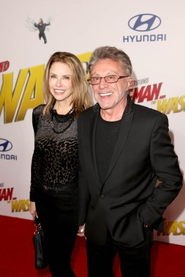 """HOLLYWOOD, CA - JUNE 25: Frankie Valli (R) and April Kirkwood attend the Los Angeles Global Premiere for Marvel Studios' """"Ant-Man And The Wasp"""" at the El Capitan Theatre on June 25, 2018 in Hollywood, California. (Photo by Jesse Grant/Getty Images for Disney) *** Local Caption *** April Kirkwood; Frankie Valli"""