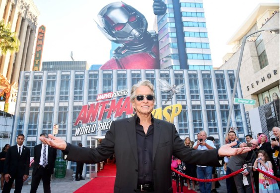 "HOLLYWOOD, CA - JUNE 25: Actor Michael Douglas attends the Los Angeles Global Premiere for Marvel Studios' ""Ant-Man And The Wasp"" at the El Capitan Theatre on June 25, 2018 in Hollywood, California. (Photo by Alberto E. Rodriguez/Getty Images for Disney) *** Local Caption *** Michael Douglas"