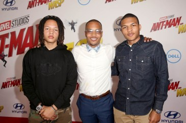 "HOLLYWOOD, CA - JUNE 25: (L-R) Domani Harris, Actor Tip ""T.I."" Harris and Messiah Harris attend the Los Angeles Global Premiere for Marvel Studios' ""Ant-Man And The Wasp"" at the El Capitan Theatre on June 25, 2018 in Hollywood, California. (Photo by Jesse Grant/Getty Images for Disney) *** Local Caption *** Domani Harris; Tip ""T.I."" Harris; Messiah Harris"