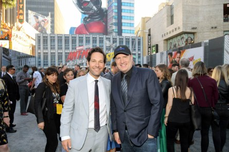 "HOLLYWOOD, CA - JUNE 25: Actor Paul Rudd (L) and Producer Kevin Feige attend the Los Angeles Global Premiere for Marvel Studios' ""Ant-Man And The Wasp"" at the El Capitan Theatre on June 25, 2018 in Hollywood, California. (Photo by Charley Gallay/Getty Images for Disney) *** Local Caption *** Kevin Feige; Paul Rudd"