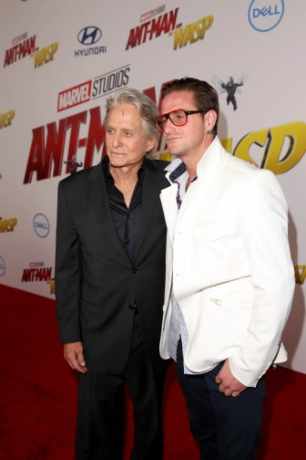 "HOLLYWOOD, CA - JUNE 25: Actor Michael Douglas (L) and Cameron Douglas attend the Los Angeles Global Premiere for Marvel Studios' ""Ant-Man And The Wasp"" at the El Capitan Theatre on June 25, 2018 in Hollywood, California. (Photo by Jesse Grant/Getty Images for Disney) *** Local Caption *** Michael Douglas; Cameron Douglas"