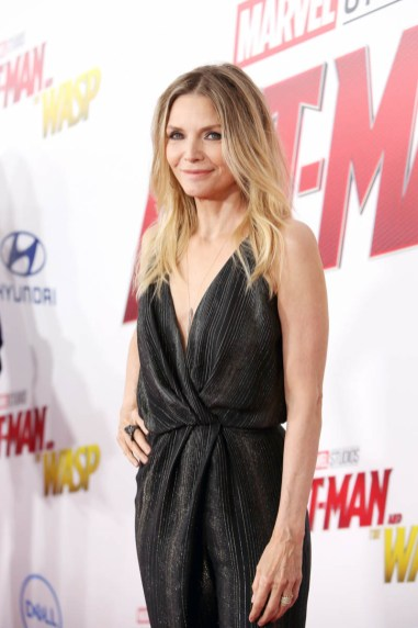 """HOLLYWOOD, CA - JUNE 25: Actor Michelle Pfeiffer attends the Los Angeles Global Premiere for Marvel Studios' """"Ant-Man And The Wasp"""" at the El Capitan Theatre on June 25, 2018 in Hollywood, California. (Photo by Jesse Grant/Getty Images for Disney) *** Local Caption *** Michelle Pfeiffer"""