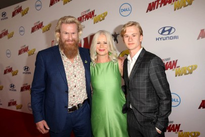 """HOLLYWOOD, CA - JUNE 25: Rune Temte (far L) and guests attend the Los Angeles Global Premiere for Marvel Studios' """"Ant-Man And The Wasp"""" at the El Capitan Theatre on June 25, 2018 in Hollywood, California. (Photo by Jesse Grant/Getty Images for Disney) *** Local Caption *** Rune Temte"""