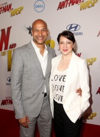 """HOLLYWOOD, CA - JUNE 25: Keegan-Michael Key (L) and Cynthia Blaise attend the Los Angeles Global Premiere for Marvel Studios' """"Ant-Man And The Wasp"""" at the El Capitan Theatre on June 25, 2018 in Hollywood, California. (Photo by Jesse Grant/Getty Images for Disney) *** Local Caption *** Cynthia Blaise; Keegan-Michael Key"""