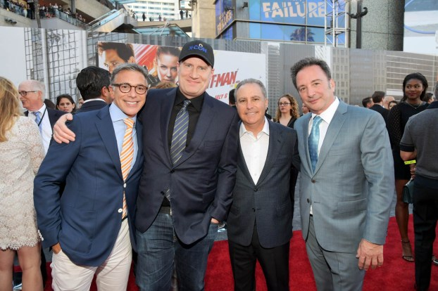 """HOLLYWOOD, CA - JUNE 25: (L-R) President, Marketing, The Walt Disney Studios, Ricky Strauss, Producer Kevin Feige, Walt Disney Studios President Alan Bergman, and Executive Producer Louis D'Esposito attend the Los Angeles Global Premiere for Marvel Studios' """"Ant-Man And The Wasp"""" at the El Capitan Theatre on June 25, 2018 in Hollywood, California. (Photo by Charley Gallay/Getty Images for Disney) *** Local Caption *** Ricky Strauss; Kevin Feige; Alan Bergman; Louis D'Esposito"""