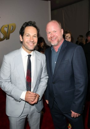 """HOLLYWOOD, CA - JUNE 25: Actors Paul Rudd (L) and Joss Whedon attend the Los Angeles Global Premiere for Marvel Studios' """"Ant-Man And The Wasp"""" at the El Capitan Theatre on June 25, 2018 in Hollywood, California. (Photo by Jesse Grant/Getty Images for Disney) *** Local Caption *** Paul Rudd; Joss Whedon"""