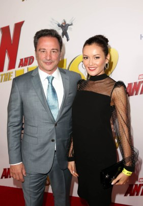 """HOLLYWOOD, CA - JUNE 25: Executive producer Louis D'Esposito (L) and guest attends the Los Angeles Global Premiere for Marvel Studios' """"Ant-Man And The Wasp"""" at the El Capitan Theatre on June 25, 2018 in Hollywood, California. (Photo by Jesse Grant/Getty Images for Disney) *** Local Caption *** Louis D'Esposito"""