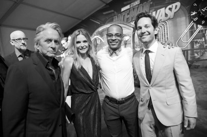 """HOLLYWOOD, CA - JUNE 25: ((EDITORS NOTE: Image has been shot in black and white. Color version not available.) Director Peyton Reed, actors Michael Douglas, Michelle Pfeiffer, Tip """"T.I."""" Harris, and Paul Rudd attend the Los Angeles Global Premiere for Marvel Studios' """"Ant-Man And The Wasp"""" at the El Capitan Theatre on June 25, 2018 in Hollywood, California. (Photo by Charley Gallay/Getty Images for Disney) *** Local Caption *** Tip """"T.I."""" Harris; Paul Rudd; Peyton Reed; Michael Douglas; Michelle Pfeiffer"""