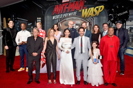 "HOLLYWOOD, CA - JUNE 25: (L-R) Actors David Dastmalchian, Tip ""T.I."" Harris, Michael Douglas, Judy Greer, Michelle Pfeiffer, Hannah John-Kamen, and Evangeline Lilly, Director Peyton Reed, Actor Paul Rudd, Producer Stephen Broussard, Actor Abby Ryder Fortson, Executive Producer Victoria Alonso, Executive Producer Louis D'Esposito, actor Laurence Fishburne, and Producer Kevin Feige attend the Los Angeles Global Premiere for Marvel Studios' ""Ant-Man And The Wasp"" at the El Capitan Theatre on June 25, 2018 in Hollywood, California. (Photo by Alberto E. Rodriguez/Getty Images for Disney) *** Local Caption *** David Dastmalchian; Tip ""T.I."" Harris; Judy Greer; Hannah John-Kamen; Michael Douglas; Michelle Pfeiffer; Stephen Broussard; Peyton Reed; Evangeline Lilly; Paul Rudd; Abby Ryder Fortson; Victoria Alonso; Louis D'Esposito; Laurence Fishburne; Kevin Feige"