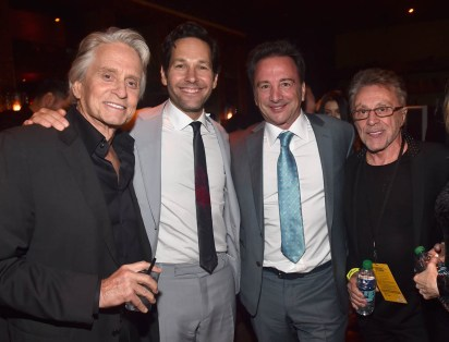 "HOLLYWOOD, CA - JUNE 25: (L-R) Actors Michael Douglas, Paul Rudd, Executive producer Louis D'Esposito and Frankie Valli attend the Los Angeles Global Premiere for Marvel Studios' ""Ant-Man And The Wasp"" at the El Capitan Theatre on June 25, 2018 in Hollywood, California. (Photo by Alberto E. Rodriguez/Getty Images for Disney) *** Local Caption *** Michael Douglas; Paul Rudd; Louis D'Esposito; Frankie Valli"