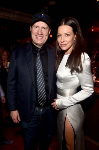 "HOLLYWOOD, CA - JUNE 25: Producer Kevin Feige (L) and actor Evangeline Lilly attend the Los Angeles Global Premiere for Marvel Studios' ""Ant-Man And The Wasp"" at the El Capitan Theatre on June 25, 2018 in Hollywood, California. (Photo by Alberto E. Rodriguez/Getty Images for Disney) *** Local Caption *** Kevin Feige; Evangeline Lilly"