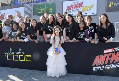 """HOLLYWOOD, CA - JUNE 25: Actor Abby Ryder Fortson and Girls Who Code attend the Los Angeles Global Premiere for Marvel Studios' """"Ant-Man And The Wasp"""" at the El Capitan Theatre on June 25, 2018 in Hollywood, California. (Photo by Charley Gallay/Getty Images for Disney) *** Local Caption *** Abby Ryder Fortson"""