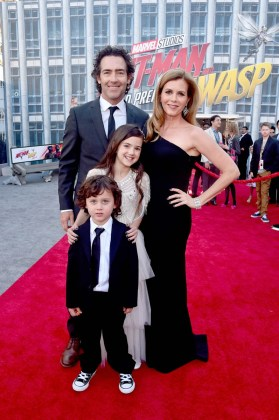"""HOLLYWOOD, CA - JUNE 25: (L-R) Joshua Taylor Fortson, John Fortson, Actor Abby Ryder Fortson, and Christie Lynn Smith attend the Los Angeles Global Premiere for Marvel Studios' """"Ant-Man And The Wasp"""" at the El Capitan Theatre on June 25, 2018 in Hollywood, California. (Photo by Alberto E. Rodriguez/Getty Images for Disney) *** Local Caption *** Abby Ryder Fortson; Christie Lynn Smith; John Fortson; Joshua Taylor Fortson"""