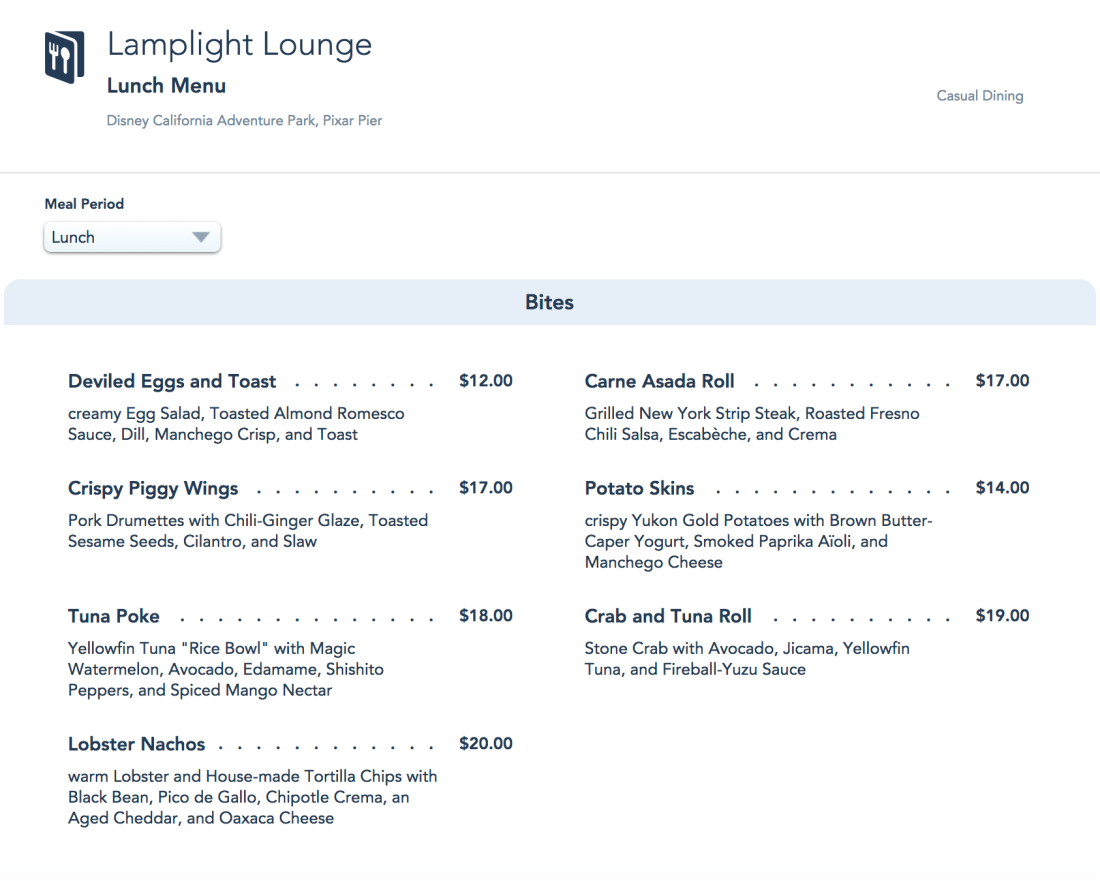 Lamplight Lounge Lunch Menu - Pixar Pier - Disney California Adventure
