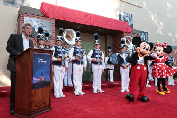 """Alan Horn speaks at the dedication and re-naming of the historic Orchestra Stage, now the Sherman Brothers Stage A, on the Disney Burbank lot prior to the world premiere of Disney's """"Christopher Robin"""" at the studio's Main Theater, on July 30, 2018 in Burbank, CA (Photo: Alex J. Berliner/ABImages)"""