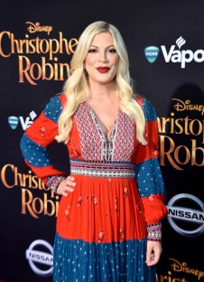 BURBANK, CA - JULY 30: Tori Spelling attends the world premiere of Disney's 'Christopher Robin' at the Main Theater on the Walt Disney Studios lot in Burbank, CA on July 30, 2018. (Photo by Alberto E. Rodriguez/Getty Images for Disney) *** Local Caption *** Tori Spelling