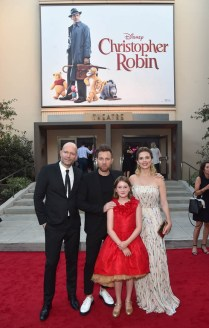 BURBANK, CA - JULY 30: (L-R) Director Marc Forster, actors Ewan McGregor, Bronte Carmichael and Hayley Atwell attend the world premiere of Disney's 'Christopher Robin' at the Main Theater on the Walt Disney Studios lot in Burbank, CA on July 30, 2018. (Photo by Alberto E. Rodriguez/Getty Images for Disney) *** Local Caption *** Marc Forster; Ewan McGregor; Bronte Carmichael; Hayley Atwell