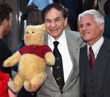 BURBANK, CA - JULY 30: Songwriter Richard M. Sherman (L) and Producer Brigham Taylor attend the world premiere of Disney's 'Christopher Robin' at the Main Theater on the Walt Disney Studios lot in Burbank, CA on July 30, 2018. (Photo by Alberto E. Rodriguez/Getty Images for Disney) *** Local Caption *** Richard M. Sherman; Brigham Taylor