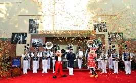 BURBANK, CA - JULY 30: Mickey Mouse, Minnie Mouse and the Disneyland Band attend the dedication and re-naming of the historic Orchestra Stage, now the Sherman Brothers Stage A, on the Disney Burbank lot prior to the world premiere of Disney's 'Christopher Robin' at the studio's Main Theater, on July 30, 2018. (Photo by Alberto E. Rodriguez/Getty Images for Disney) *** Local Caption *** Mickey Mouse; Minnie Mouse; Disneyland Band