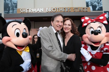 """Mickey Mouse, Richard M. Sherman, Lesley Ann Warren and Minnie Mouse pose together at the dedication and re-naming of the historic Orchestra Stage, now the Sherman Brothers Stage A, on the Disney Burbank lot prior to the world premiere of Disney's """"Christopher Robin"""" at the studio's Main Theater, on July 30, 2018 in Burbank, CA (Photo: Alex J. Berliner/ABImages)"""