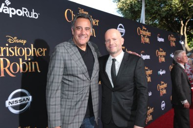 "Brad Garrett and Director Marc Forster pose together at the world premiere of Disney's ""Christopher Robin"" at the Main Theater on the Walt Disney Studios lot in Burbank, CA on July 30, 2018. (Photo: Alex J. Berliner/ABImages)"