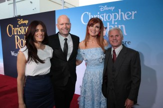 """Renee Wolfe,Director Marc Forster, Producer Kristin Burr and Brigham Taylor pose together at the world premiere of Disney's """"Christopher Robin"""" at the Main Theater on the Walt Disney Studios lot in Burbank, CA on July 30, 2018. (Photo: Alex J. Berliner/ABImages)"""