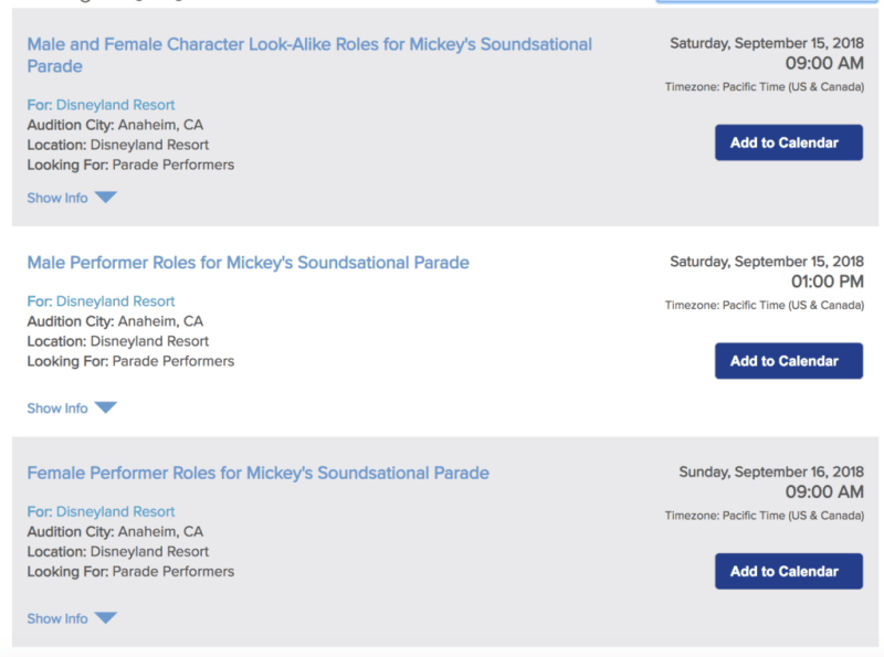 Mickey's Soundsational Parade Audition Listing