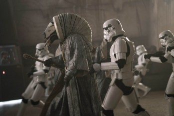 Storm Troopers and creature in SOLO: A STAR WARS STORY