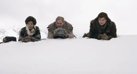 Thandie Newton is Val, Woody Harrelson is Beckett and Alden Ehrenreich is Han Solo in SOLO: A STAR WARS STORY.