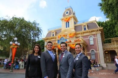 2017-2018 Disneyland Resort Ambassador Team Mikey Trujillo and Alexa Garcia with 2019-2020 Disneyland Resort Ambassador Team Rafa Barron and Justin Rapp