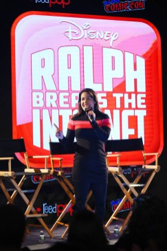 NEW YORK, NY - OCTOBER 05: Comedian Dani Fernandez introduces RALPH BREAKS THE INTERNET directors Rich Moore and Phil Johnston and head of story Josie Trinidad as they reveal new details about the production and unveil never-before-seen footage at New York Comic Con at Jacob Javitz Center on October 5, 2018, in New York City. (Photo by Ben Gabbe/Getty Images for Disney Studios) *** Local Caption *** Dani Fernandez