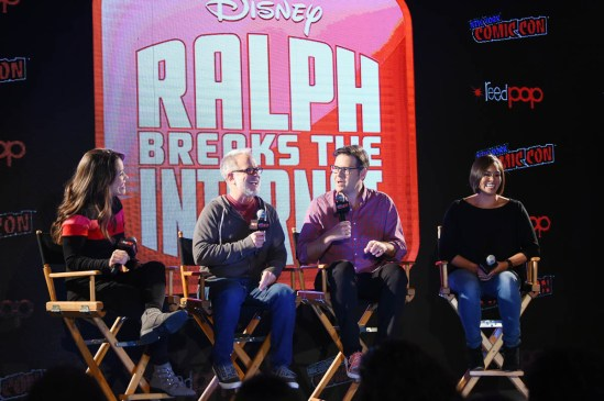 NEW YORK, NY - OCTOBER 05: RALPH BREAKS THE INTERNET directors Rich Moore, Phil Johnston and head of story Josie Trinidad reveal new details about the production and unveil never-before-seen footage during a conversation with comedian Dani Fernandez (L), who makes a cameo as herself in the film, at New York Comic Con at Jacob Javitz Center on October 5, 2018, in New York City. *** Local Caption *** Dani Fernandez; Rich Moore; Phil Johnston; Josie Trinidad