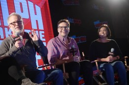 NEW YORK, NY - OCTOBER 05: RALPH BREAKS THE INTERNET directors Rich Moore, Phil Johnston and head of story Josie Trinidad reveal new details about the production and unveil never-before-seen footage during a conversation with comedian Dani Fernandez, who makes a cameo as herself in the film, at New York Comic Con at Jacob Javitz Center on October 5, 2018, in New York City. (Photo by Ben Gabbe/Getty Images for Disney Studios) *** Local Caption *** Rich Moore; Phil Johnston; Josie Trinidad