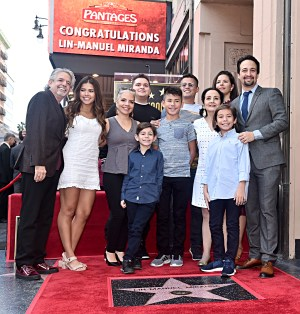 LOS ANGELES, CALIFORNIA - NOVEMBER 30: Lin-Manuel Miranda (R) and family attend the ceremony honoring Lin-Manuel Miranda with a Star on the Hollywood Walk of Fame on November 30, 2018 in Hollywood, California. (Photo by Alberto E. Rodriguez/Getty Images for Disney)