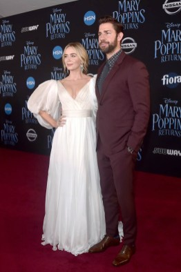 HOLLYWOOD, CA - NOVEMBER 29: Actors Emily Blunt (L) and John Krasinski attend Disney's 'Mary Poppins Returns' World Premiere at the Dolby Theatre on November 29, 2018 in Hollywood, California. (Photo by Alberto E. Rodriguez/Getty Images for Disney) *** Local Caption *** Emily Blunt; John Krasinski