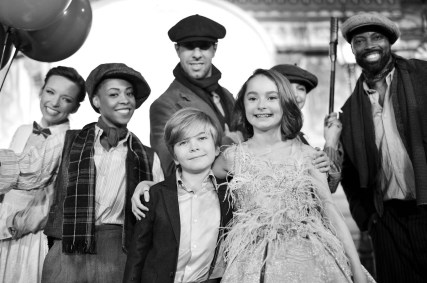HOLLYWOOD, CA - NOVEMBER 29: (EDITORS NOTE: Image has been shot in black and white. No color version available) Actors Joel Dawson (L) and Pixie Davies attend Disney's 'Mary Poppins Returns' World Premiere at the Dolby Theatre on November 29, 2018 in Hollywood, California. (Photo by Charley Gallay/Getty Images for Disney) *** Local Caption *** Joel Dawson; Pixie Davies