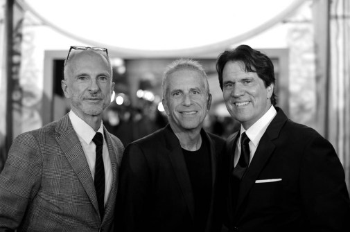 HOLLYWOOD, CA - NOVEMBER 29: (EDITORS NOTE: Image has been shot in black and white. No color version available) (L-R) Producers John DeLuca, Marc Platt and Director/producer Rob Marshall attend Disney's 'Mary Poppins Returns' World Premiere at the Dolby Theatre on November 29, 2018 in Hollywood, California. (Photo by Charley Gallay/Getty Images for Disney) *** Local Caption *** John DeLuca; Marc Platt; Rob Marshall