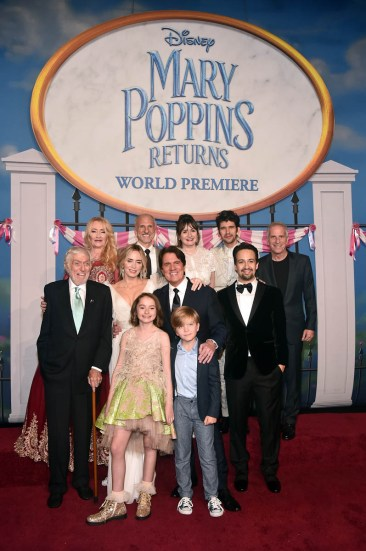 HOLLYWOOD, CA - NOVEMBER 29: (Top L-R) Actor Karen Dotrice, Producer John DeLuca, actors Emily Mortimer, Ben Whishaw and Producer Marc Platt (Middle L-R) Actors Dick Van Dyke, Emily Blunt, Director/producer Rob Marshall and actor Lin-Manuel Miranda (Bottom) Actors Pixie Davies and Joel Dawson attend Disney's 'Mary Poppins Returns' World Premiere at the Dolby Theatre on November 29, 2018 in Hollywood, California. (Photo by Alberto E. Rodriguez/Getty Images for Disney) *** Local Caption *** Karen Dotrice; John DeLuca; Emily Mortimer; Ben Whishaw; Marc Platt; Dick Van Dyke; Emily Blunt; Rob Marshall; Lin-Manuel Miranda; Pixie Davies; Joel Dawson