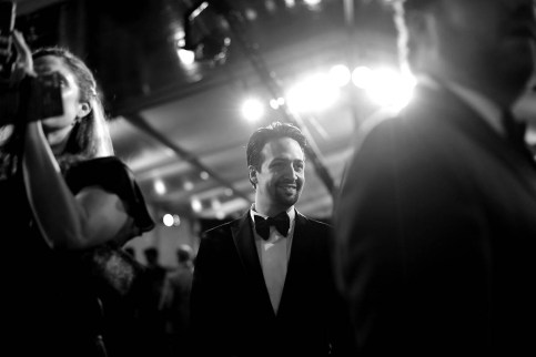 HOLLYWOOD, CA - NOVEMBER 29: (EDITORS NOTE: Image has been shot in black and white. No color version available) Actor Lin-Manuel Miranda attends Disney's 'Mary Poppins Returns' World Premiere at the Dolby Theatre on November 29, 2018 in Hollywood, California. (Photo by Charley Gallay/Getty Images for Disney) *** Local Caption *** Lin-Manuel Miranda