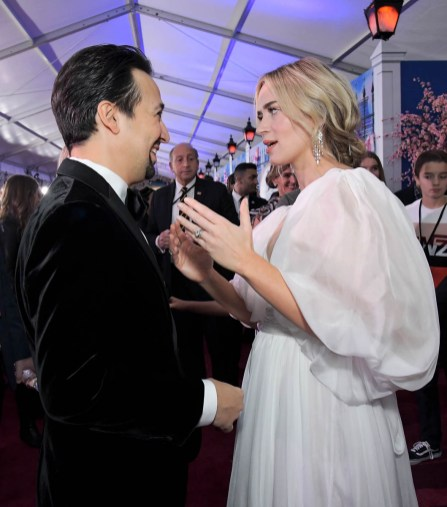 HOLLYWOOD, CA - NOVEMBER 29: Actors Lin-Manuel Miranda (L) and Emily Blunt attend Disney's 'Mary Poppins Returns' World Premiere at the Dolby Theatre on November 29, 2018 in Hollywood, California. (Photo by Charley Gallay/Getty Images for Disney) *** Local Caption *** Emily Blunt; Lin-Manuel Miranda