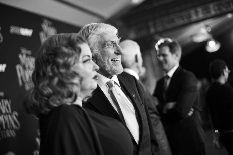 HOLLYWOOD, CA - NOVEMBER 29: (EDITORS NOTE: Image has been shot in black and white. No color version available) Arlene Silver (L) and actor Dick Van Dyke attend Disney's 'Mary Poppins Returns' World Premiere at the Dolby Theatre on November 29, 2018 in Hollywood, California. (Photo by Charley Gallay/Getty Images for Disney) *** Local Caption *** Arlene Silver; Dick Van Dyke