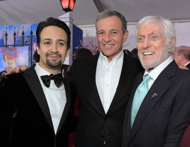 HOLLYWOOD, CA - NOVEMBER 29: (L-R) Actor Lin-Manuel Miranda, The Walt Disney Company Chairman and CEO Bob Iger, and Actor Dick Van Dyke attend Disney's 'Mary Poppins Returns' World Premiere at the Dolby Theatre on November 29, 2018 in Hollywood, California. (Photo by Charley Gallay/Getty Images for Disney) *** Local Caption *** Lin-Manuel Miranda; Bob Iger; Dick Van Dyke