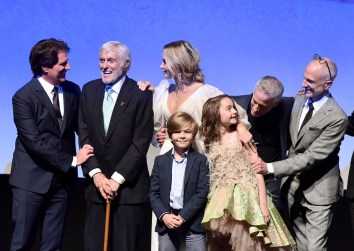 HOLLYWOOD, CA - NOVEMBER 29: (L-R) Director/Producer Rob Marshall, Actors Dick Van Dyke, Emily Blunt, Joel Dawson, Pixie Davies, and Producers Marc Platt and John DeLuca onstage during Disney's 'Mary Poppins Returns' World Premiere at the Dolby Theatre on November 29, 2018 in Hollywood, California. (Photo by Alberto E. Rodriguez/Getty Images for Disney) *** Local Caption *** Rob Marshall; Joel Dawson; Pixie Davies; Dick Van Dyke; John DeLuca; Emily Blunt; Marc Platt