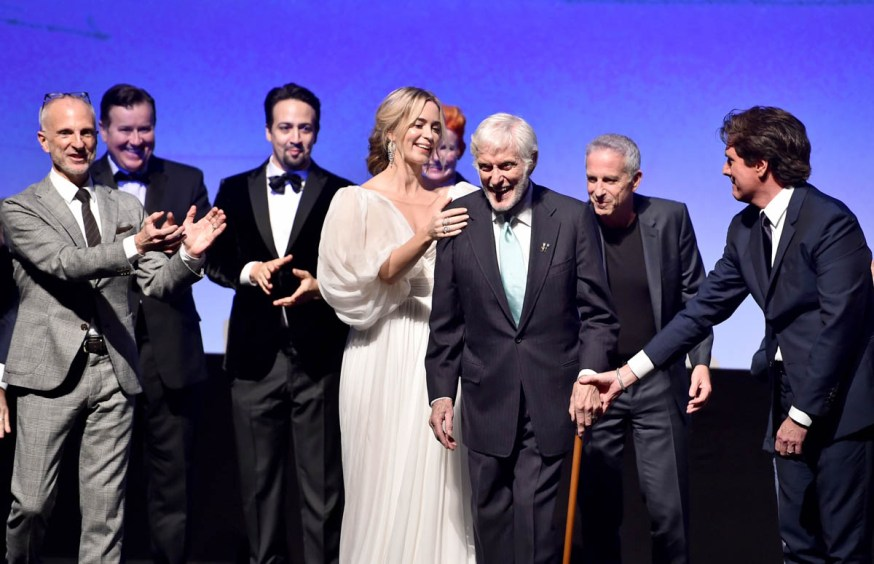 HOLLYWOOD, CA - NOVEMBER 29: (L-R) Producer John DeLuca, Actors Jeremy Swift, Lin-Manuel Miranda, Emily Blunt, Dick Van Dyke, Producer Marc Platt, and Director/Producer Rob Marshall onstage during Disney's 'Mary Poppins Returns' World Premiere at the Dolby Theatre on November 29, 2018 in Hollywood, California. (Photo by Alberto E. Rodriguez/Getty Images for Disney) *** Local Caption *** John DeLuca; Jeremy Swift; Lin-Manuel Miranda; Dick Van Dyke; Emily Blunt; Marc Platt; Rob Marshall