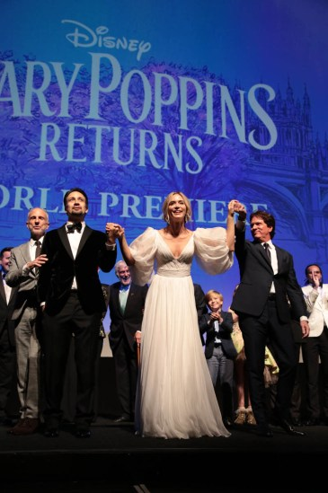 John DeLuca, Lin-Manuel Miranda, Emily Blunt and Rob Marshall joined on stage by cast and filmmakers at The World Premiere of Disney's Mary Poppins Returns at the Dolby Theatre in Hollywood, CA on Wednesday, November 29, 2018 (Photo: Alex J. Berliner/ABImages)