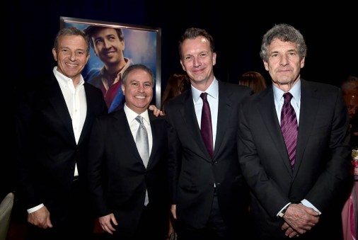 HOLLYWOOD, CA - NOVEMBER 29: (L-R) The Walt Disney Company Chairman and CEO Bob Iger, Walt Disney Studios President Alan Bergman, President of Walt Disney Studios Motion Picture Production, Sean Bailey, and Chairman, The Walt Disney Studios, Alan Horn attend Disney's 'Mary Poppins Returns' World Premiere at the Dolby Theatre on November 29, 2018 in Hollywood, California. (Photo by Alberto E. Rodriguez/Getty Images for Disney) *** Local Caption *** Bob Iger; Alan Bergman; Sean Bailey; Alan Horn