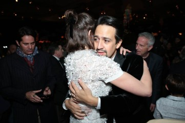 Emily Mortimer and Lin-Manuel Miranda share a moment at The World Premiere of Disney's Mary Poppins Returns at the Dolby Theatre in Hollywood, CA on Wednesday, November 29, 2018 (Photo: Alex J. Berliner/ABImages)